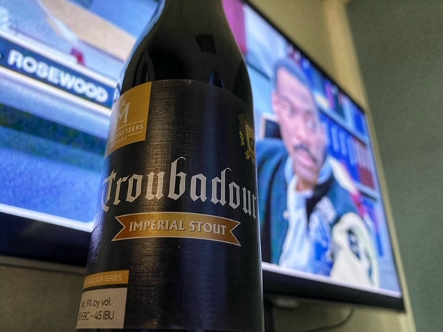 Troubadour Imperial stout van Brouwerij The Musketeers